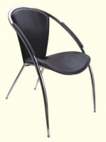 Black Vinyl Stackable Guest Chair