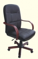 Wooden Arms Genuine Leather Executive Chair
